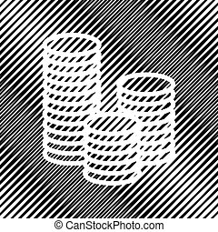 Money sign illustration. Vector. Icon. Hole in moire background.