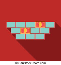 Money sign illustration. Vector. Whitish icon on brick wall as background.