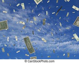 Money sky - photo and illustration mix of falling dollar...