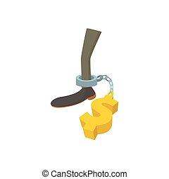 Money slave icon, cartoon style