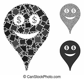 Money smiley map marker Mosaic Icon of Irregular Pieces