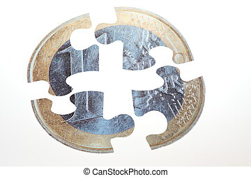 Currency Puzzle - Split Pie euro coin with white background