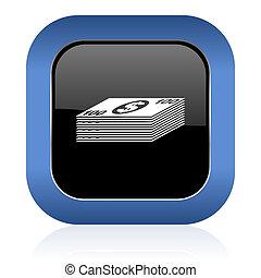 money square glossy icon cash symbol