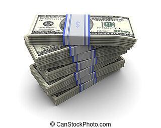 money stack - 3d illustration of money banknotes stack over...