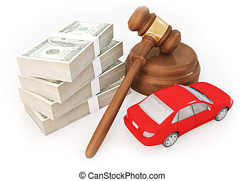 money stack and auction with car