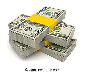 money stack - 3d illustration of dollar banknotes heap, over...