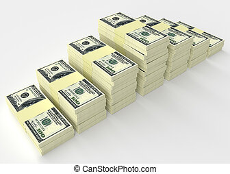 Money stack. Finance concepts - Big money stack from dollars...
