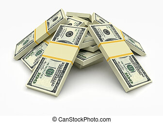 Money stack. Finance concepts - Big money stacks from...