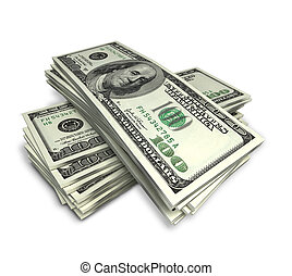 money - stack of dollars on white; clippng path