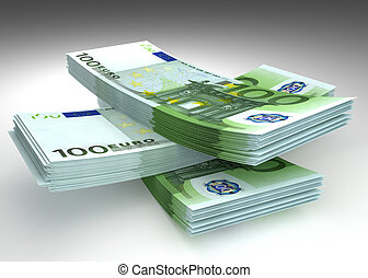 Money - stack of euro banknotes