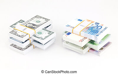 Money stack - Stacks of dollars and euros