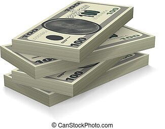 Money Stack With Shadows Isolated On White. EPS10 Vector