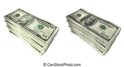 Money Stacks 02 - Money Stacks $10 & $100 3D