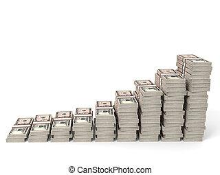 Money stacks graph. Five dollars. 3D illustration.