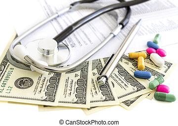 Money, stethoscope and pills, medical insurance - Dollars,...