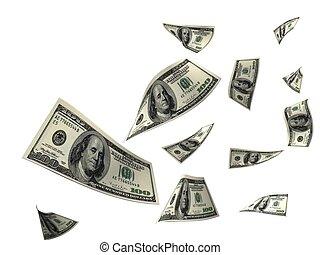 money - 3D Render Flying $100 Dollar Bill