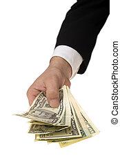 Money in businessman palm