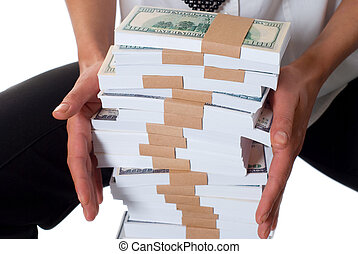 Money - Details of woman\\\'s fingers holding money stack