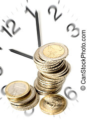 money - time is money concept with eur coins close up