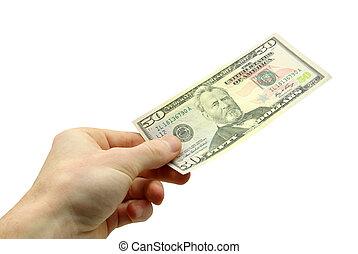 money - Hand hold 50 bill on white background