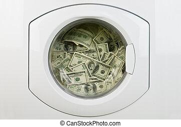 money in washing machine close up