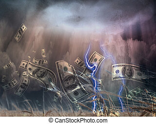 Money Storm - Violent storm and US Currency