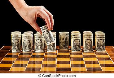 Money strategy - Money strategies concept - dollar bills on...