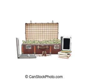 Money Suitcase Laptop Tablet Books
