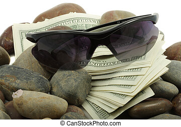 Money sunglasses and stones