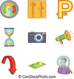 Money supply icons set, cartoon style - Money supply icons...
