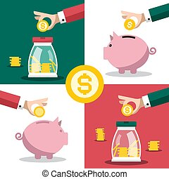 Money Symbol. Business Concept with Hands and Piggy Banks. Vector Flat Design Savings Illustration with Dollar Coins.