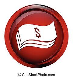 Money symbol button, Banknote icon