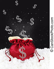 Money symbol come out from a sack