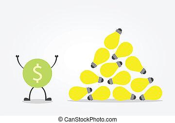 idea bulb - money symbol glad with idea bulb