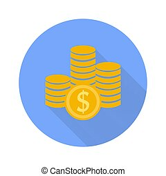 Money symbol icon on white background with shadow.