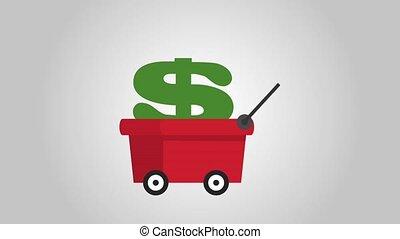 Money symbol on mining car, business concept - mining cart...