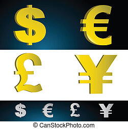 Money currency symbols. Vector file also available.