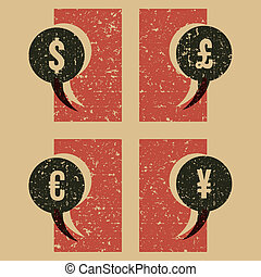 money symbols vintage print