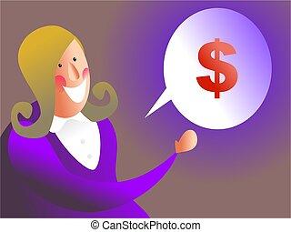 money talk - business executive talking about money - female...