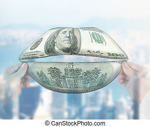 Money talks concept - Money mouth with hands holding,...