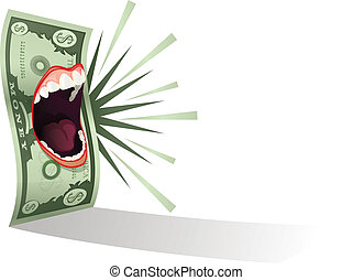 Money Talks - Dollar bill graphic with teeth and lips
