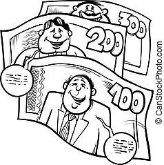 money talks saying cartoon illustration - Black and White...