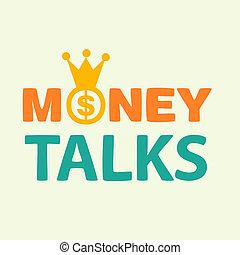 money talks text on yellow background