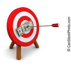 money target - 3d illustration of dollar in center of...