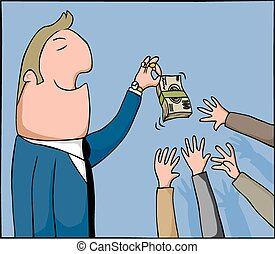 Money tease - Cartoon man holds out a wad of cash to tease...