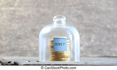money text and gold coins - money concept, gold coins and a...