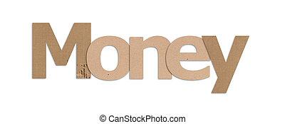 money text in white background