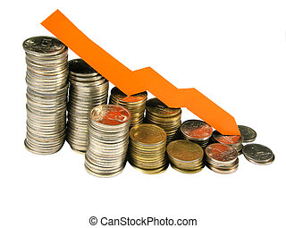 Money, the schedule - a metallic money and falling chart is ...