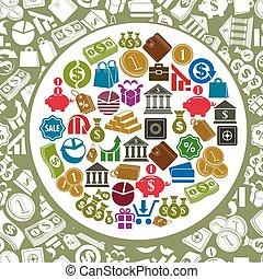 Money theme icons vector set