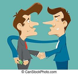 money thief - businessman,handshake with deceive and money...